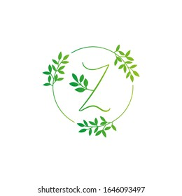 Z letter logo vector design. Z Icon eco green and circle concept template. Z vector set of green eco letters logo with leaves. Z alphabet of green leaves isolated on white background. Floral Alphabet.