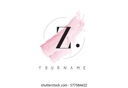 Z Letter Logo with Watercolor Pastel Aquarella Brush Stroke and Circular Rounded Design.