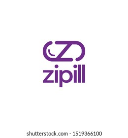 z letter and pill or drug idea concept logo design. vector icon illustration inspiration with eps10. simple and modern with monoline style logos