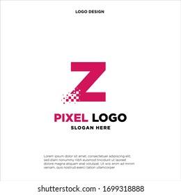 Z Letter pixel logo design modern template