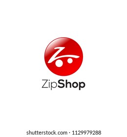 z letter in shape of shopping trolley with red circle in background logo
