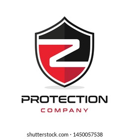 Z Letter shield vector logo template. Black and red color. This alphabet or font symbol suitable for protection business.