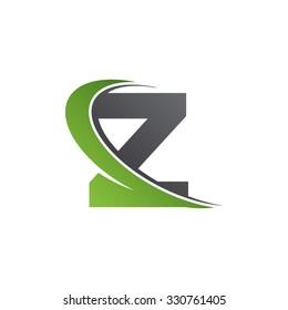 Z letter swoosh green logo