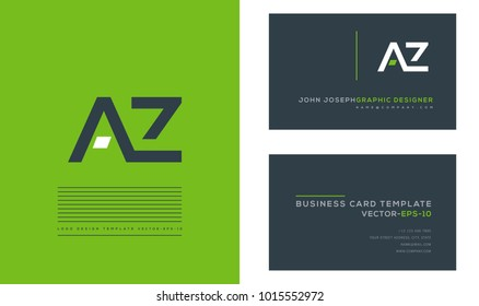 A Z, A & Z Letters joint logo icon with business card vector template.