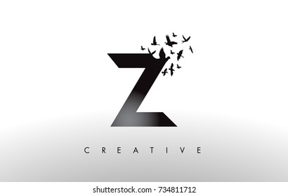 Z Logo Letter with Flying Flock of Birds Disintegrating from the Letter. Bird Fly Letter Icon.