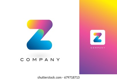 Z Logo Letter With Rainbow Vibrant Colors.Z Colorful Modern Trendy Purple and Magenta Letters Vector Illustration.