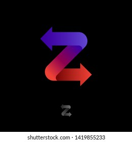 Z logo. Ribbon with arrows. Z origami monogram. Letter with directions. Network icon. Delivery or Logistic.