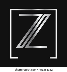 Z logo, silver letter , square frame
