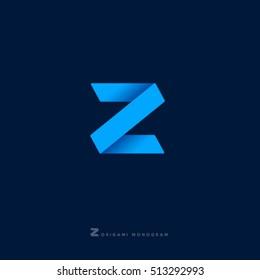 Z monogram. Z letter. Z origami logo.