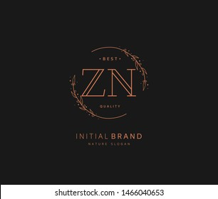 Z N ZN Beauty vector initial logo, handwriting logo of initial signature, wedding, fashion, jewerly, boutique, floral and botanical with creative template for any company or business.