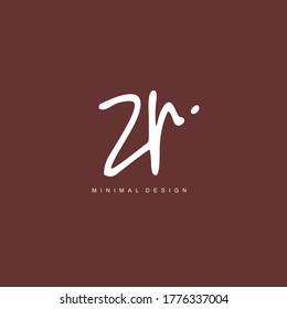 Z R ZR Initial handwriting or handwritten logo for identity. Logo with hand drawn style.