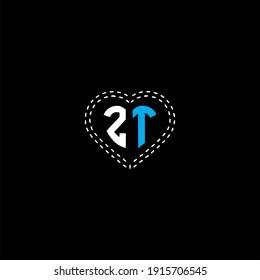 Z T letter logo vector design on black color background. zt monogram