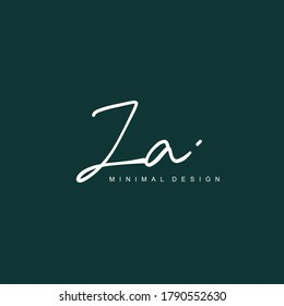 Z A ZA Initial handwriting or handwritten logo for identity. Logo with signature and hand drawn style.