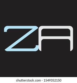 ZA Abstrac logo vector Monogram isolated on black background