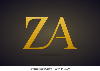 ZA or AZ logo vector. Initial letter logo, golden text on black background