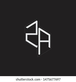 ZA Initial Letters logo monogram with up to down style isolated on black background