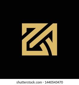 ZA Initial Letters Looping, Linked Logo, Elegant Gold Design on Black Background - vector