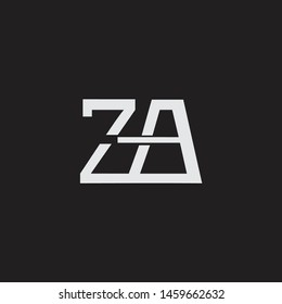 ZA initial logo Capital Letters black background
