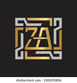 ZA Letter logo initial capital monogram with abstract ornament