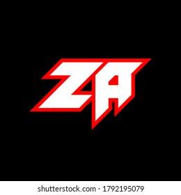 ZA logo design, initial ZA letter design with sci-fi style. ZA logo for game, esport, Technology, Digital, Community or Business. Z A sport modern Italic alphabet font. Typography urban style fonts.