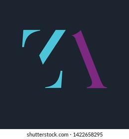 ZA logo design.Company dynamic logo. Letters Z and A. Monogram logo ZA