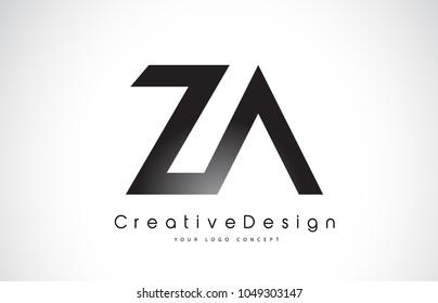 ZA Z A Letter Logo Design in Black Colors. Creative Modern Letters Vector Icon Logo Illustration.