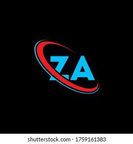 ZA Z A letter logo design. Initial letter ZA linked circle uppercase monogram logo red and blue. ZA logo, Z A design. za, z a
