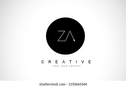 ZA Z A Logo Design with Black and White Creative Icon Text Letter Vector.