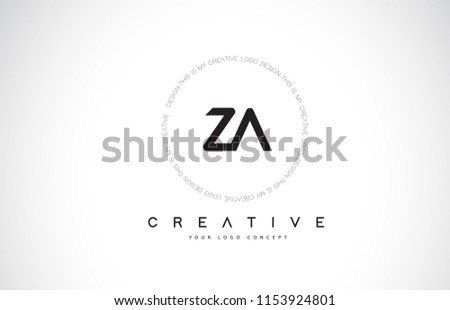 Za Z Logo Design Black White Stock Vector Royalty Free 1153924801