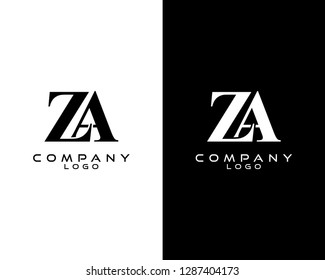 za/az company linked letter modern logo black and white color vector for business and company