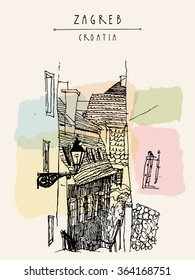 Zagreb, Croatia, Europe. Street in old town. Vintage hand drawn postcard. Vector illustration