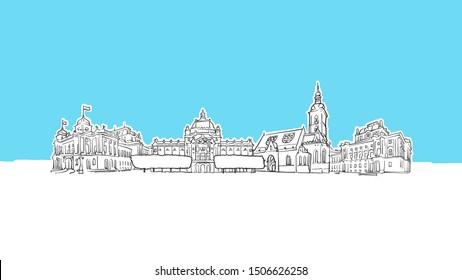 Zagreb Croatia Skyline Panorama Vector Sketch. Hand-drawn Illustration on blue background.
