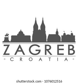 Zagreb Croatia Skyline Silhouette Design City Vector Art Famous Buildings