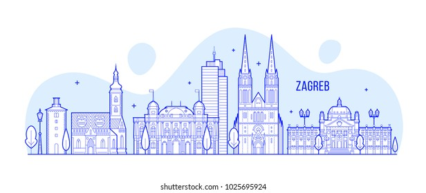 Zagreb skyline, Croatia. This illustration represents the city with its most notable buildings. Vector is fully editable, every object is holistic and movable