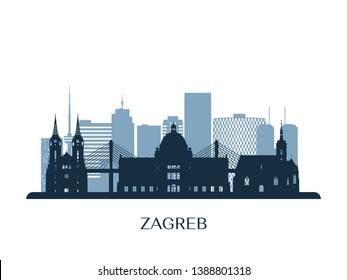 Zagreb skyline, monochrome silhouette. Vector illustration.