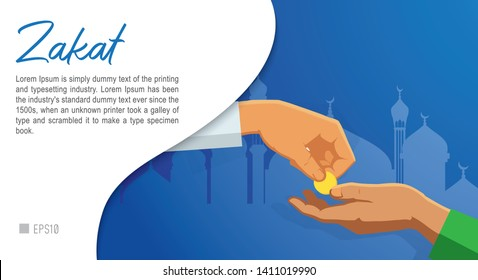 Zakat Fitrah Conceptual Design. Zakat al-Fitr are charity taken for the poor few days before the end fasting in the Islamic holy month of Ramadan