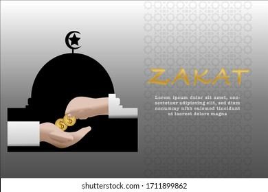 Zakat vector. Islamic content vector. Zakat is the sharing of wealth from the rich for the less fortunate
