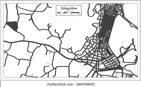 Zakynthos Greece City Map in Black and White Color in Retro Style. Outline Map. Vector Illustration.