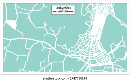 Zakynthos Greece City Map in Retro Style. Outline Map. Vector Illustration.