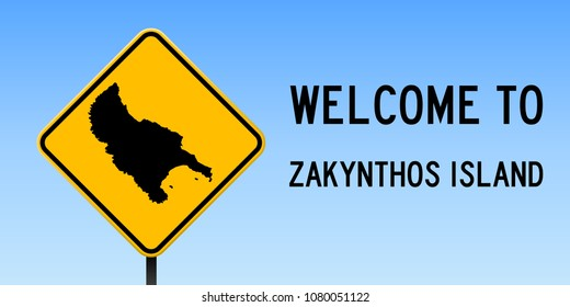 Zakynthos Island map road sign. Wide poster with island outline on yellow rhomb signboard. Vector illustration.