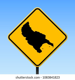 Zakynthos Island map road sign. Square poster with island outline on yellow rhomb signboard. Vector illustration.