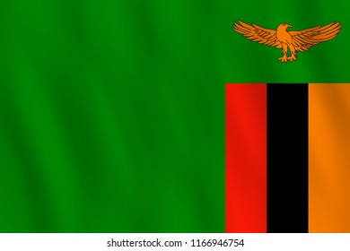 Zambia flag with waving effect, official proportion.