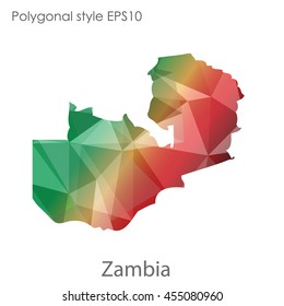 Zambia map in geometric polygonal style.Abstract gems triangle,modern design background.Vector Illustration EPS10