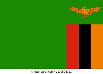 Zambia national flag, official flag of Zambia accurate colors, true color