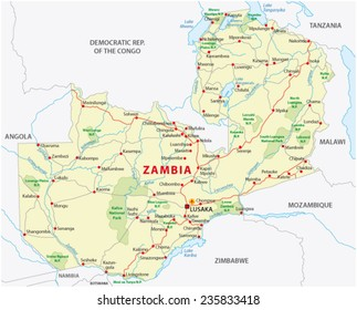 zambia road and national park  map