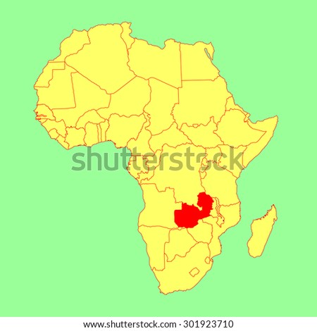 Map Of Africa Zambia.Zambia Vector Map Isolated On Africa Stock Vector Royalty Free