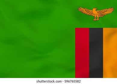 Zambia waving flag. Zambia national flag background texture. Vector illustration.