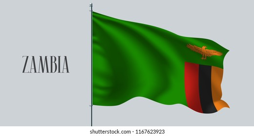 Zambia waving flag on flagpole vector illustration. Green red design element of Zambian wavy realistic flag as a symbol of country
