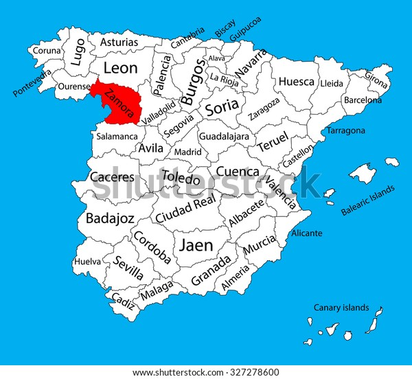 Map Of Spain Showing Alicante.Zamora Map Spain Province Vector Map Stock Vector Royalty Free