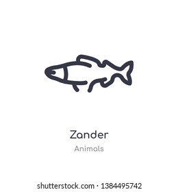 zander outline icon. isolated line vector illustration from animals collection. editable thin stroke zander icon on white background